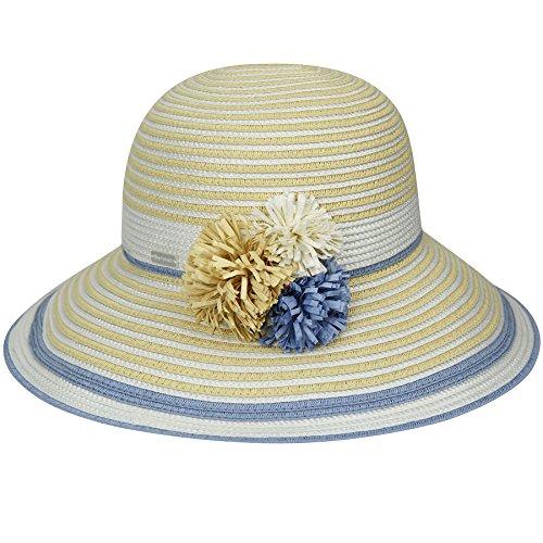 Betmar Women Lucia Braided Medium Brim Hat Natural/Light Blue One Size Fits Most ()