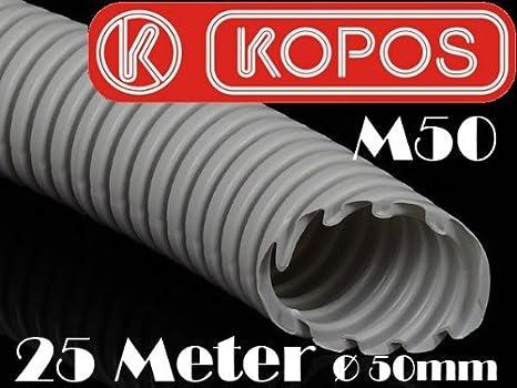 25m M50 Kopos 50mm Kabelschutzrohr Elektrorohr Installationsrohr Wellrohr flexibel hellgrau leichte Druckbeanspruchung