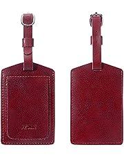 S-ZONE Étiquettes à Bagages en Cuir Étiquettes d'Identification pour Valises Sacs à Dos Ensemble de 2 Pièces (avec Carte Nominative)