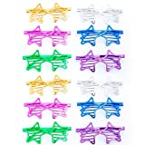 12Pcs Party Eyeglasses, Kids Party Glasses Color Party Sunglasses Slotted Shutter Glasses Christmas Toy Party Favors for Kids Adults (Star Shape)