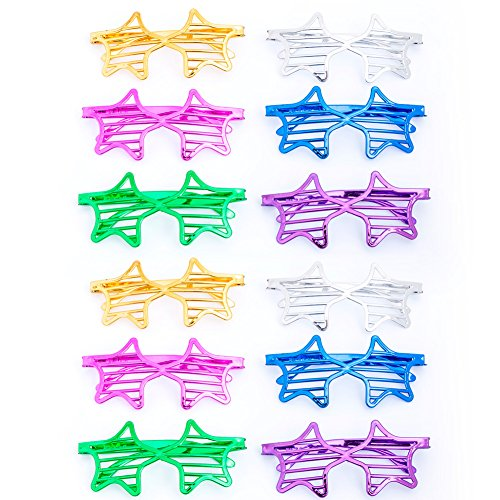 12Pcs Party Eyeglasses, Kids Party Glasses Color Party Sunglasses Slotted Shutter Glasses Christmas Toy Party Favors for Kids Adults (Star - Shutter Glasses Heart
