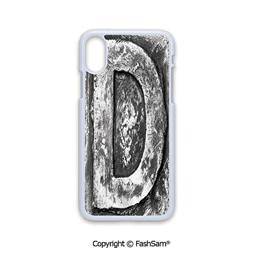 Fashion Printed Phone Case Compatible with iPhone X Black Edge Alphabet D Letter Reference to Someones Name Symbolic Character Education Art Decorative 2D Print Hard Plastic Phone Case -