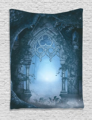 Fantasy House Decor Tapestry Wall Hanging By Ambesonne, Passage Doorway Through Enchanted Foggy Magical Palace Garden Night Scenery, Bedroom Living Room Dorm Decor, 60 W x 80 L Inches, Navy Gray