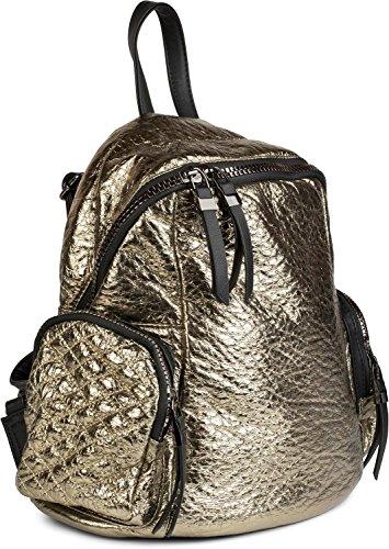 styleBREAKER mochila, bolso de mano con óptica pespunteada metálica y cremallera, bolso, señora 02012199, color:Negro metálico Dorado metálico
