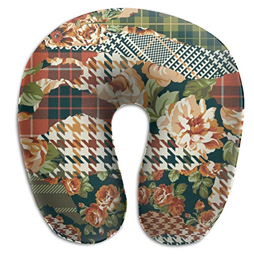 LinBei Houndstooth Tartan Roses Plaid Memory Foam Travel Neck Pillow Portable Cervical U Pillow Camping