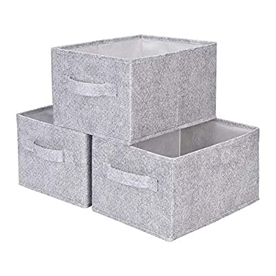 "GRANNY SAYS Closet Organizer Bins, Storage Basket for Shelves, Closet Bins with Handle, Home and Office Box Organizer, Gray, Large, 3-Pack - DIMENSIONS: Large, 14.4""L x 10.0""W x 8.3""H INTEGRATION WITH FURNITURE: The closet organizer bins fitting in among your household decoration due to those material is same as furniture. PREMIUM QUALITY: This storage basket for shelves made of thicken cardboard frame for reinforced structure. Polyester fabric sturdy but also soft, it will not scrape shelves, closets, beds etc. - living-room-decor, living-room, baskets-storage - 5154d3ajn1L. SS400  -"