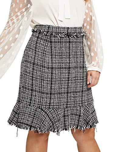 Milumia Women Tweed Frayed Trim Ruffle Knee Length Plaid Checked Pencil ()