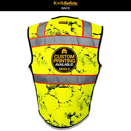 KwikSafety (Charlotte, NC) UNCLE WILLY'S WALL (10 Pockets) Class 2 ANSI High Visibility Reflective Safety Vest Heavy Duty Mesh with Zipper and HiVis for Construction Work HiViz Men Yellow Black L/XL by KwikSafety (Image #1)
