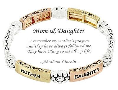 Mother Daughter Stretch Bracelet H6 Clear Crystal Tri Tone