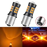 NAKOBO 1500 Lumen Super Bright Low Power 1157 2357 BAY15D 1157A 7528 2057 Led Bulb for Brake Back Up Reverse DRL Tail Lights 12-24V 27SMD Newest 3030 Chips Amber Yellow(pack of 2)
