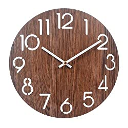 12 Wooden Round Wall Clock,Vintage Rustic Country Tuscan Style for Kitchen Living Room Office,Silent & Non-Ticking Large Decorative Clocks,Battery Operated(416)