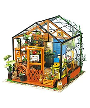 Robotime 3d Diy House Kit Greenhouse With Led Light Miniature Model