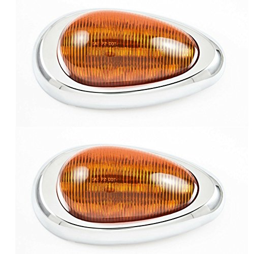 LED Freightliner Century/Columbia Side Marker Signal Light W. Chrome Bezel Qty 2