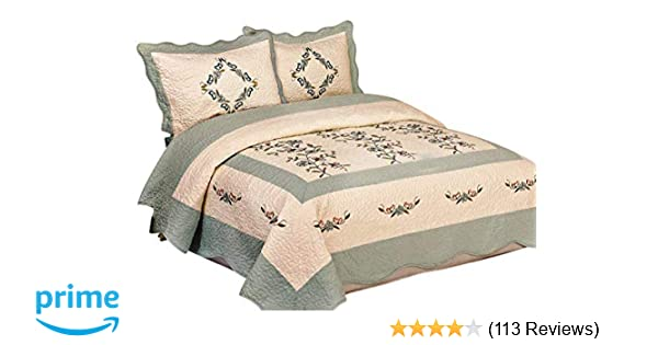 Amazon.com: 3pcs High Quality Fully Quilted Embroidery Quilts ...