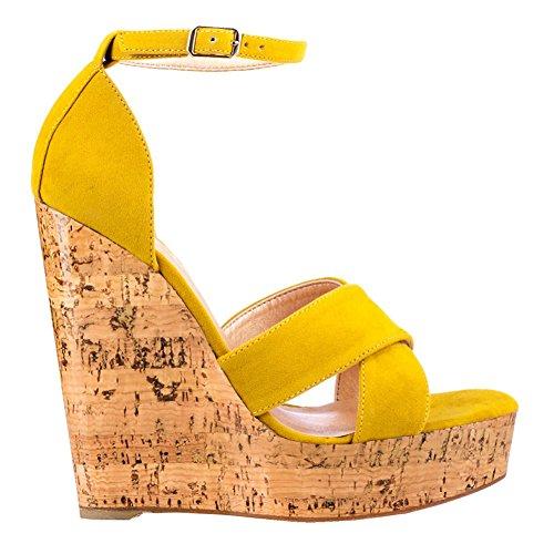 EKS - Sandalias de vestir para mujer amarillo