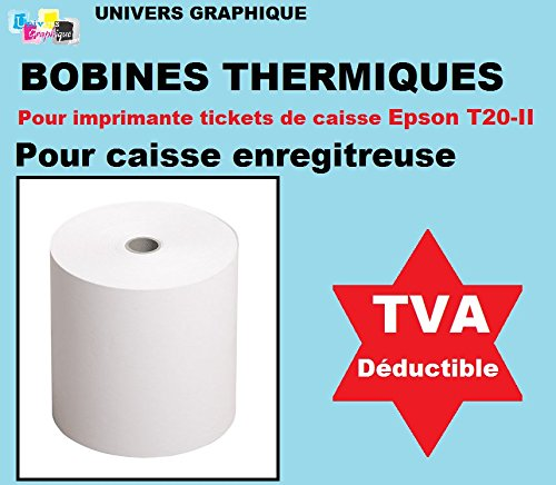 10 ex Thermal Till Rolls 80 x 80 x 12 for Receipts for Thermal Printer Thermal Paper roll ref UGRr808012