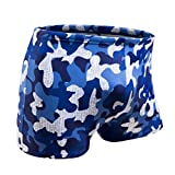 KGKE Swim Boxer Briefs Short Swim Jammer Camo Racer Mens Square Leg Swimsuit