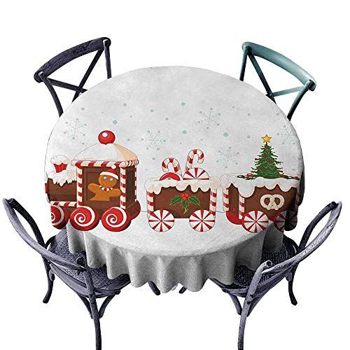 - HCCJLCKS Waterproof Tablecloth Christmas Train with Gingerbread Cream Candy Cartoon Toys Snowflakes Presents Party D59 White Brown Vermilion
