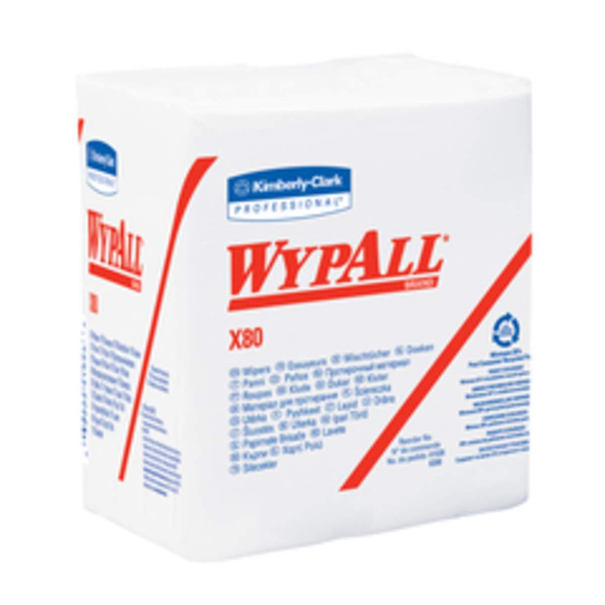 Kimberly-Clark Professional WYPALL X80 12.5'' X 12'' Red Heavy Duty 1/4 Fold Wiper (50 Per Box)