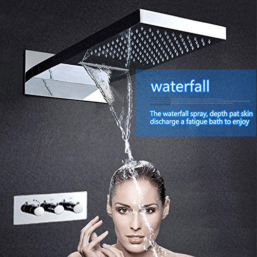 Gowe Hot And Cold Bathroom Faucet Shower Accessoires LED Conceal Shower Set 304 Stainless Steel Waterfall LED Shower Mixer Tap 5