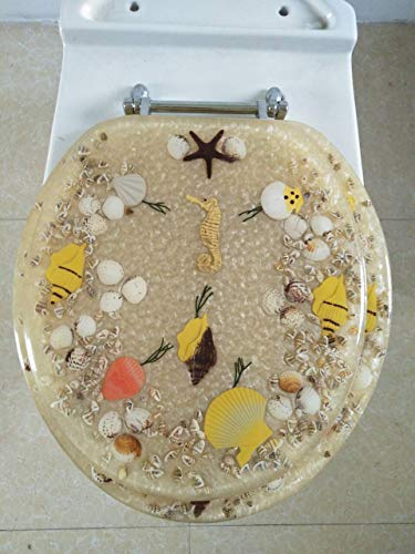 Heavy Duty Comfort Seahorse Seashells Round Toilet Seats wit