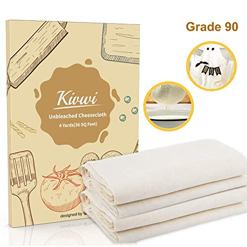 Kivwi Cheesecloth, Grade 90, 36 Sq Feet, Reusable, 100% Unbleached Cotton Fabric, Ultra Fine Cheesecloth for Cooking - Nut Milk Bag, Strainer, Filter (Grade 90-4 Yards) ()
