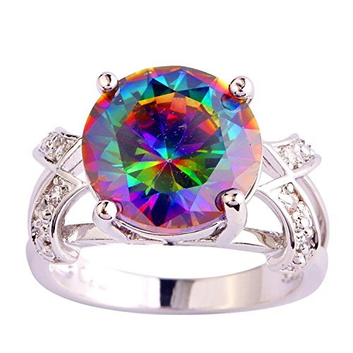 12mm Round Cut Gem - Narica Women's Brilliant 12mmx12mm Round Cut Rianbow Topaz CZ Ring Band