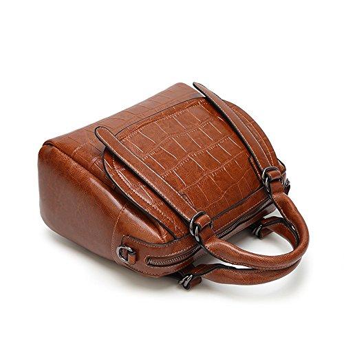 capacité Sac crocodile sac grande brun Postal en bandoulière Sunbobo de à 85BwqR7g
