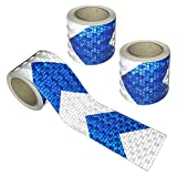 Viewm Reflective Tape 3 Rolls Safety Tapes Warning Strip Arrow Sticker 3m x 5cm / 3.28 Yard x 2 Inch Each Roll (Blue and Silver)