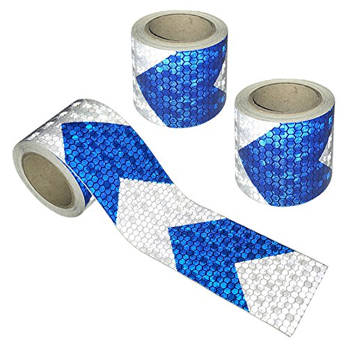 Viewm Reflective Tape 3 Rolls Safety Tapes Warning Strip Arrow Sticker 3m x 5cm / 3.28 Yard x 2 Inch Each Roll (Blue and Silver) by Viewm