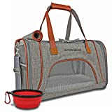 Pet Carrier Airline Approved | for Pets/Cat / Dog Travel| Soft Sided Under Seat Design | Premium Removable Fleece Bed and Lockable Zipper Clasps by: Avion-Gear Series 1 (Grey)