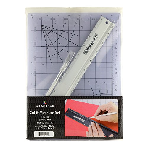 Alumicolor Cut & Measure Set: Gridded Cutting Mat, 12 inch Alumicutter and Hobby Knife, Aluminum, Silver (3812-1)