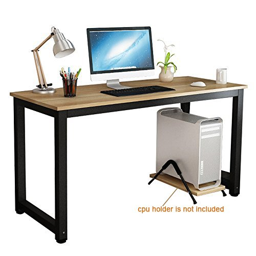 gootrades Computer Table,47'' Sturdy Office Desk Study Writing Desk,Modern Simple Style PC Workstation Table for Home Office,Walnut + Black Leg by gootrades