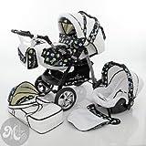 Milk Rock Baby Star Cruiser Kinderwagen Safety-Set (Autositz & ISOFIX Basis, Regenschutz, Moskitonetz, Schwenkräder) 13 Snow & Aqua Pirate