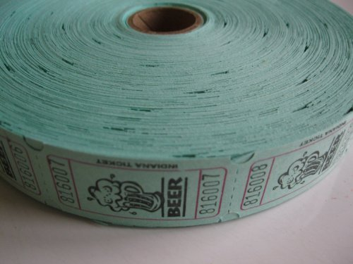 2000 Green BEER Single Roll Consecutively Numbered Raffle Tickets