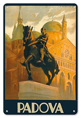 Accent Padova (Pacifica Island Art 8in x 12in Vintage Metal Tin Sign - Padova (Padua), Italy - Equestrian Statue Gattamelata - St. Antonio Basilica - Piazza del Santo by Marcello Dudovich)