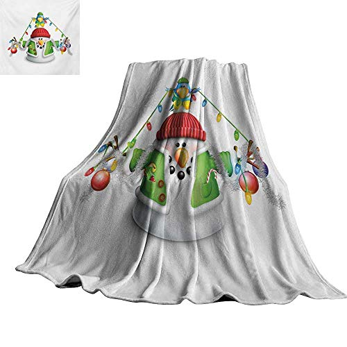 (RenteriaDecor Snowman,Warm Blanket Cartoon Whimsical Character with Christmas Garland Blue Bird Various Xmas Elements Plush Microfiber Blanket 62