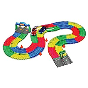 Magic Tracks 11 ft (2 Tracks) Mega Set With LED Race Cars MEGA-Cool Colorful Glow In The Dark Racing!
