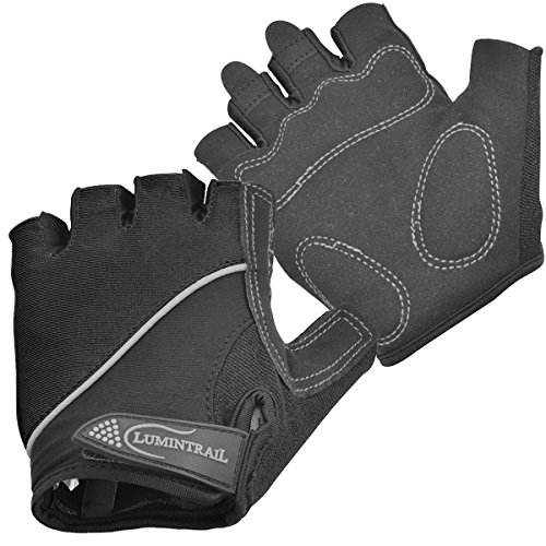 Lumintrail Shock Absorbing Half-Finger Riding Cycling Gloves Breathable Road Racing Bicycle Mens Womens (Black, (Ladies Ultra Riding Gloves)