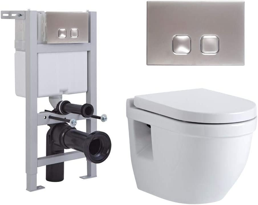 Milano Ballam White Ceramic Modern Bathroom Wall Hung Round Toilet WC with Tall Wall Frame Cistern and Dot Chrome Flush Plate