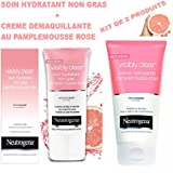 Neutrogena Visibly Clear Crème hydratante non grasse Pamplemousse rose 50 ml + Visibly Clear Pamplemousse Rose Crème Nettoyante - Tube 150 ml - ( KIT DE 2 PRODUITS )