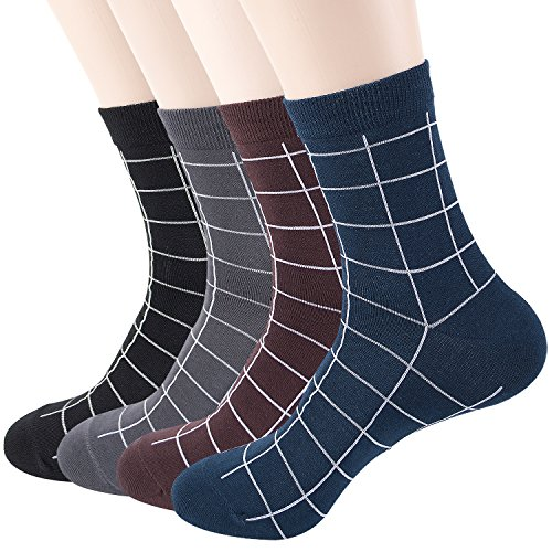 Mens 4 Pack Luxury Striped Colorful Cotton Dress Socks Mid Calf by JJSocks (Grid) (Grid Mid Calf Socks)