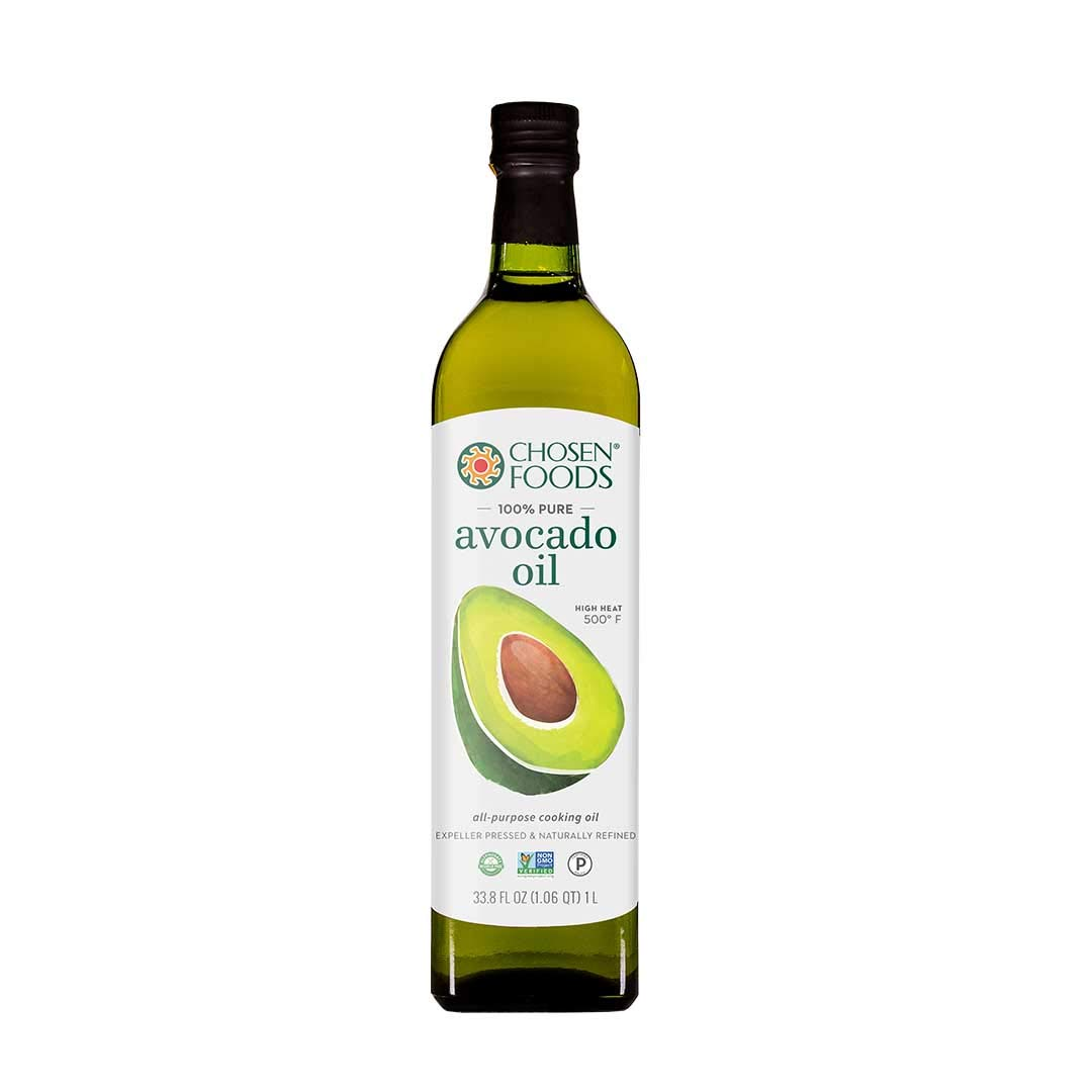Chosen Foods 100% Pure Avocado Oil 1 L (6 Pack), Non-GMO, for High-Heat Cooking, Frying, Baking, Homemade Sauces, Dressings and Marinades by Chosen Foods