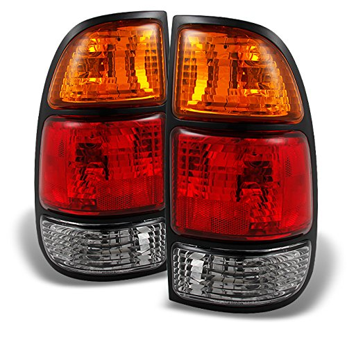 For Toyota Tundra Pickup Truck Red Clear Lens Rear Tail Lights Brake Lamps Replacement Pair Left+ Right ()