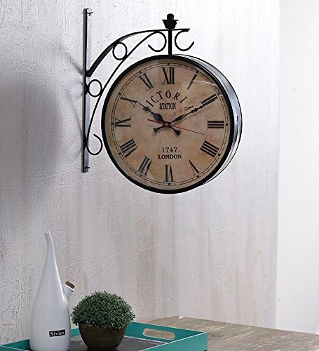 black iron 12 inch railway clock double side wall clock victoria station clock