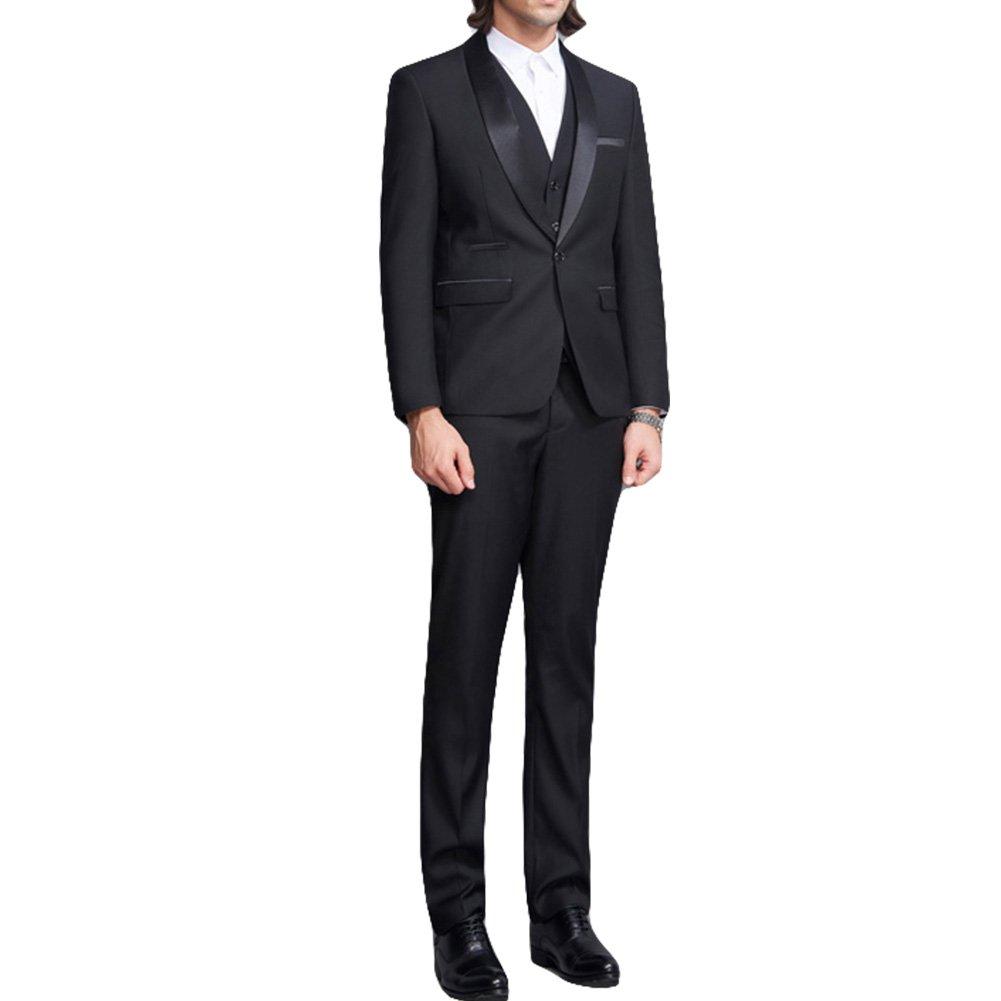 Abiti da Sera Uomo 2 Pezzi Slim Fit Nero Smoking Smoking Giacca con Collo  Sciallato Giacca Bavero e Pantaloni  Amazon.it  Abbigliamento f84e2ada40e