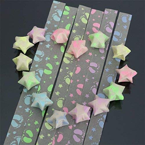 Bumatech Kids Diy Handicraft Art - 1 Pack 30 Strips Foot Print Folding Children Lucky Wish Stars Origami Paper Ribbon Kit - Star Origami Paper Strips Jar Glow In The Dark Korean Lucky Folding - 1PCs ()