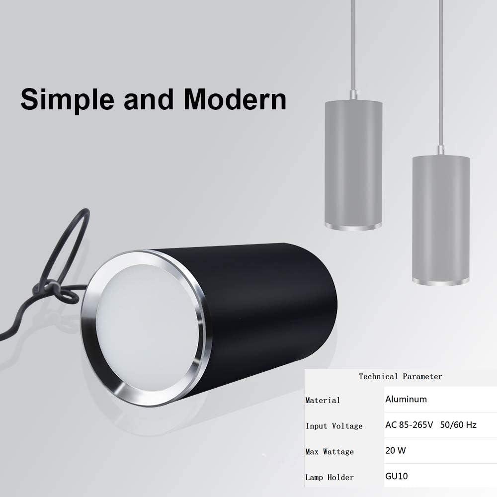 Hobaca GU10 Dia6CM L20CM Anillo de plata Moderno Tubo cil/índrico LED Focos para el techo Luz colgante para la Isla de cocina Comedor barra de la tienda L/ámpara colgante Pipe Punto de techo