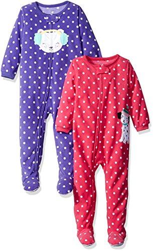 Carter's Baby Girls' Toddler 2-Pack Fleece Pajamas, Polka Dots, 3T