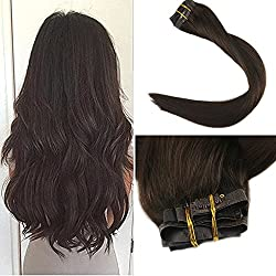 """Full Shine 8 Pieces 20"""" 120g Dark Brown Color #2 Seamless Hair Extensions Clip in Human Hair Straight Clip in Hair Extensions Clip Real Human Hair Clip on Skin Weft Remy Hair Extensions"""